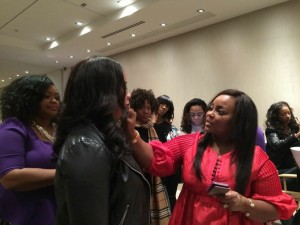 Celebrity Makeup Artist Ashunta Sheriff Demonstrating Hands-On Makeup and Beauty Tips to Style Theory Attendees